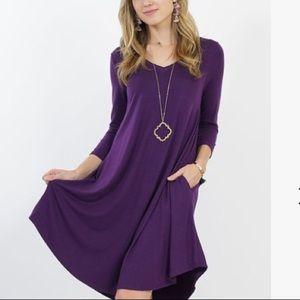 Silky soft tunic dress in deep purple!
